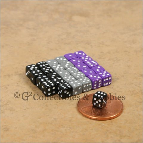 D6 5mm Deluxe Rounded Edge Opaque 30pc Dice Set - Black Gray Purple