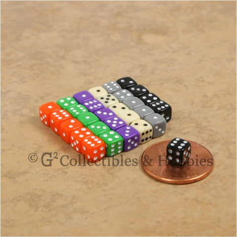 D6 5mm Deluxe Rounded Edge Opaque 30pc Dice Set - 6 Colors (A)