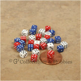 D6 5mm Deluxe Rounded Edge Opaque 30pc Dice Set - Red White Blue