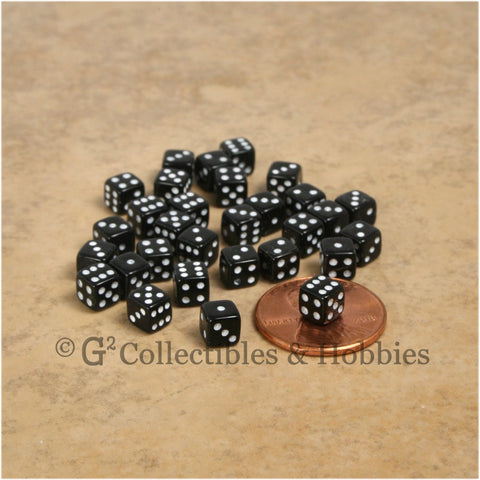 D6 5mm Deluxe Rounded Edge 30pc MINI Dice Set - Opaque Black