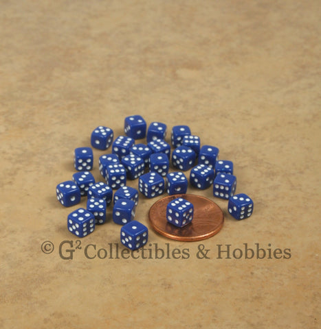 D6 5mm Deluxe Rounded Edge 30pc MINI Dice Set - Opaque Navy Blue