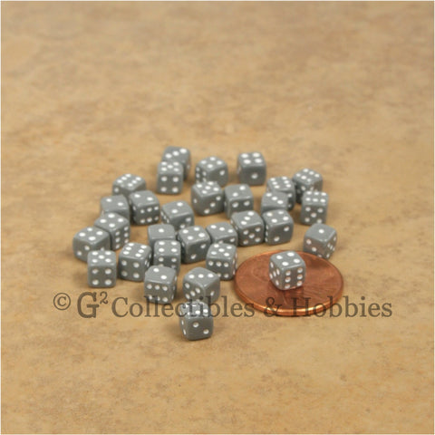 D6 5mm Deluxe Rounded Edge 30pc MINI Dice Set - Opaque Gray