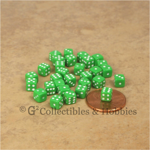 D6 5mm Deluxe Rounded Edge 30pc MINI Dice Set - Opaque Green