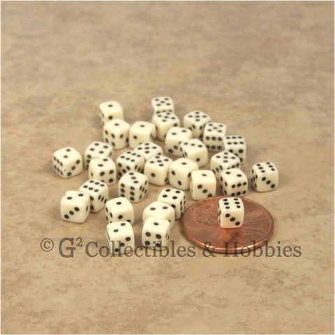D6 5mm Deluxe Rounded Edge 30pc MINI Dice Set - Opaque Ivory