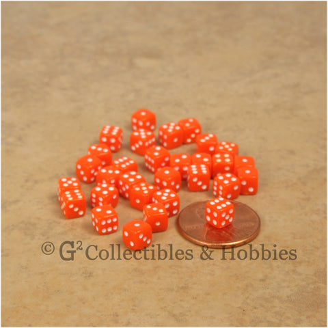 D6 5mm Deluxe Rounded Edge 30pc MINI Dice Set - Opaque Orange