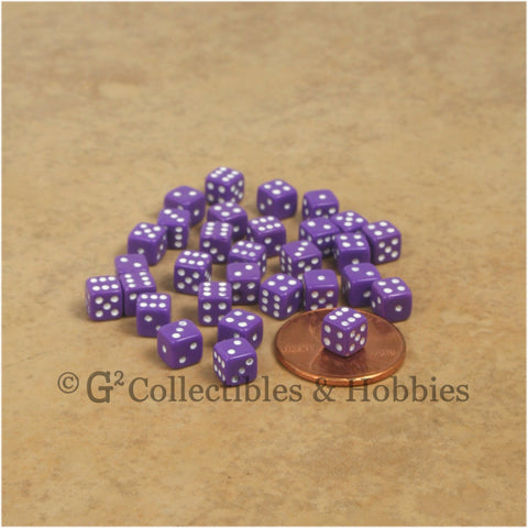 D6 5mm Deluxe Rounded Edge 30pc MINI Dice Set - Opaque Purple