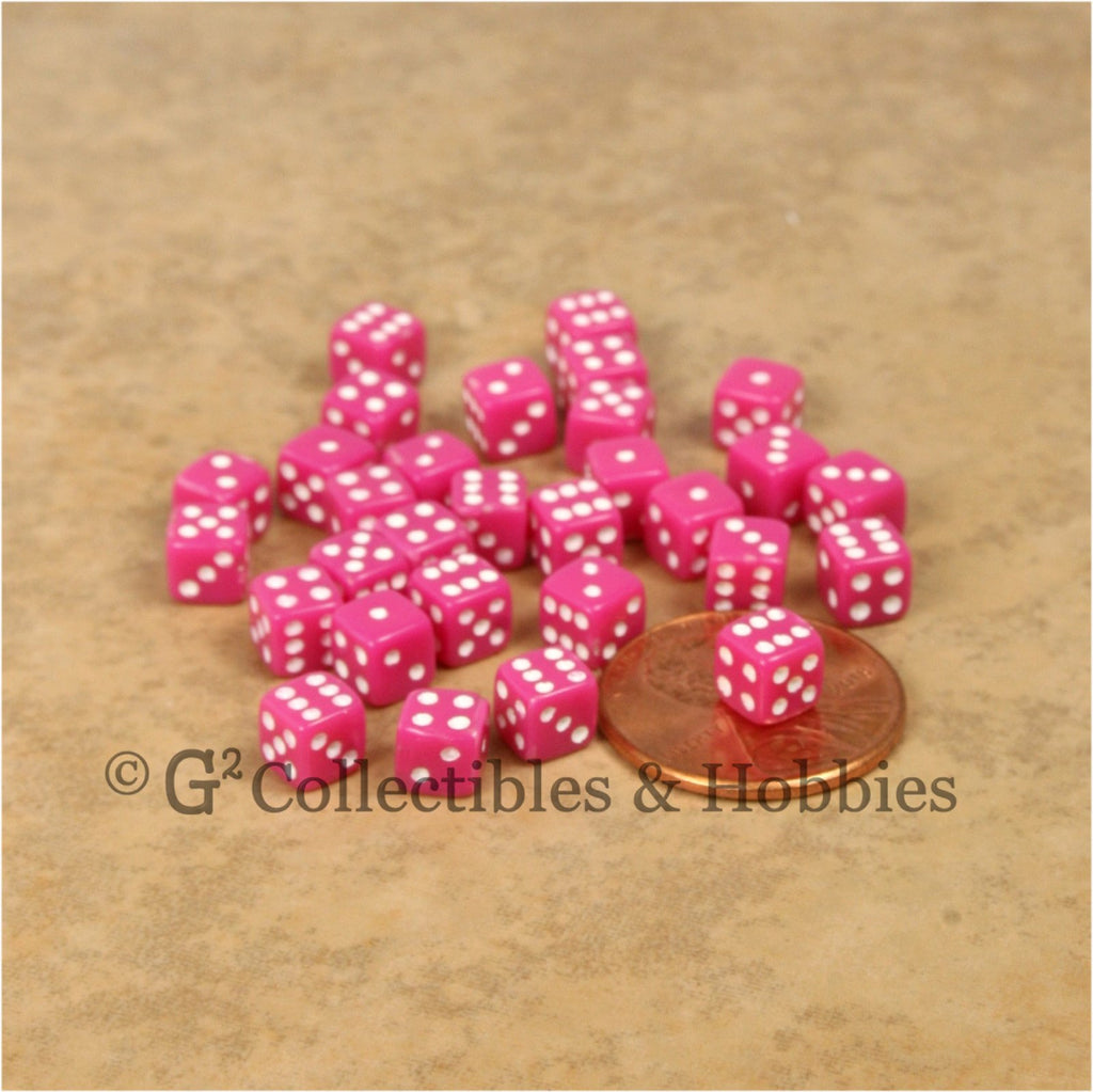 D6 5mm Deluxe Rounded Edge 30pc MINI Dice Set - Opaque Pink
