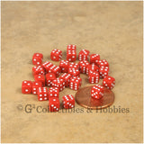 D6 5mm Deluxe Rounded Edge 30pc MINI Dice Set - Opaque Red