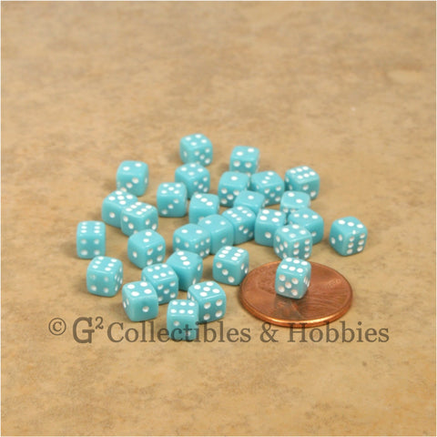 D6 5mm Deluxe Rounded Edge 30pc MINI Dice Set - Opaque Sky Blue