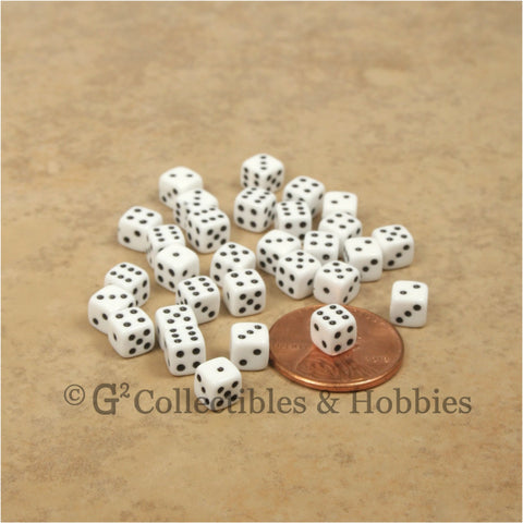 D6 5mm Deluxe Rounded Edge 30pc MINI Dice Set - Opaque White