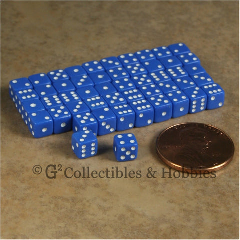 D6 5mm 50pc Squared Edge MINI Dice Set - Opaque Blue