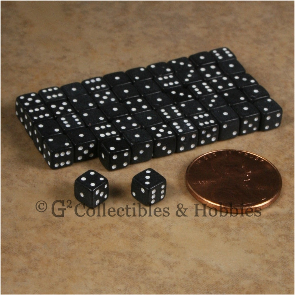 D6 5mm Opaque Black 50pc Squared Edge Dice Set