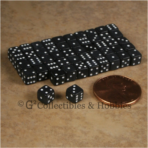 D6 5mm 50pc Squared Edge MINI Dice Set - Opaque Black