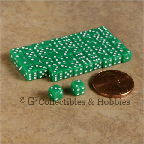 D6 5mm 50pc Squared Edge MINI Dice Set - Opaque Green