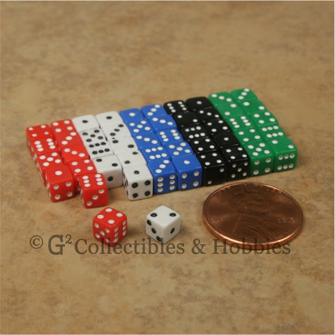 D6 5mm 50pc Squared Edge MINI Dice Set - Opaque 5 Colors