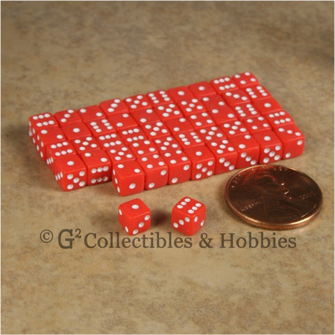 D6 5mm 50pc Squared Edge MINI Dice Set - Opaque Red