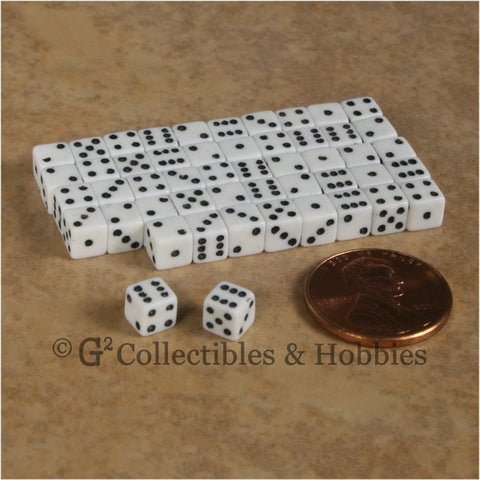 D6 5mm 50pc Squared Edge MINI Dice Set - Opaque White