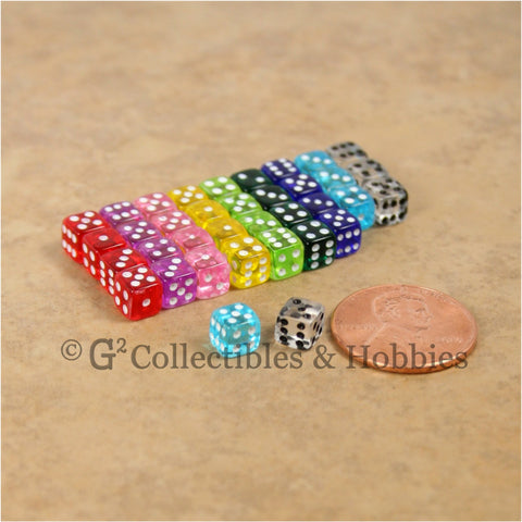 D6 5mm Deluxe Rounded Edge Transparent 36pc MINI Dice Set - 9 Colors