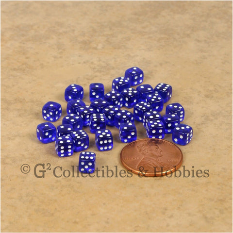 D6 5mm Deluxe Rounded Edge 30pc MINI Dice Set - Transparent Blue