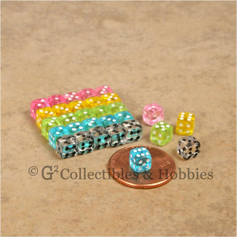 D6 5mm Deluxe Rounded Edge Transparent 30pc MINI Dice Set (A) - 5 Colors