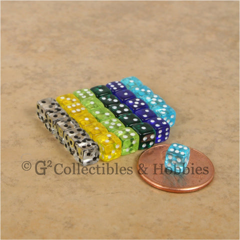 D6 5mm Deluxe Rounded Edge Transparent 30pc MINI Dice Set (B) - 6 Colors