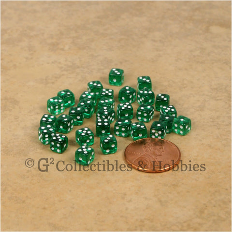 D6 5mm Deluxe Rounded Edge 30pc MINI Dice Set - Transparent Green