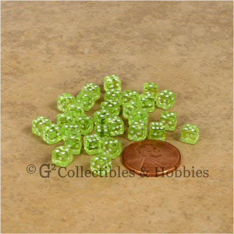 D6 5mm Deluxe Rounded Edge 30pc MINI Dice Set - Transparent Lime Green