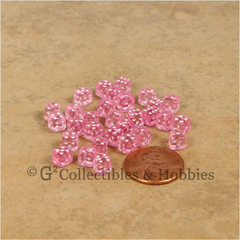 D6 5mm Deluxe Rounded Edge 30pc MINI Dice Set - Transparent Pink