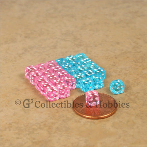 D6 5mm Deluxe Rounded Edge Transparent 30pc MINI Dice Set  - Auqa Blue & Pink