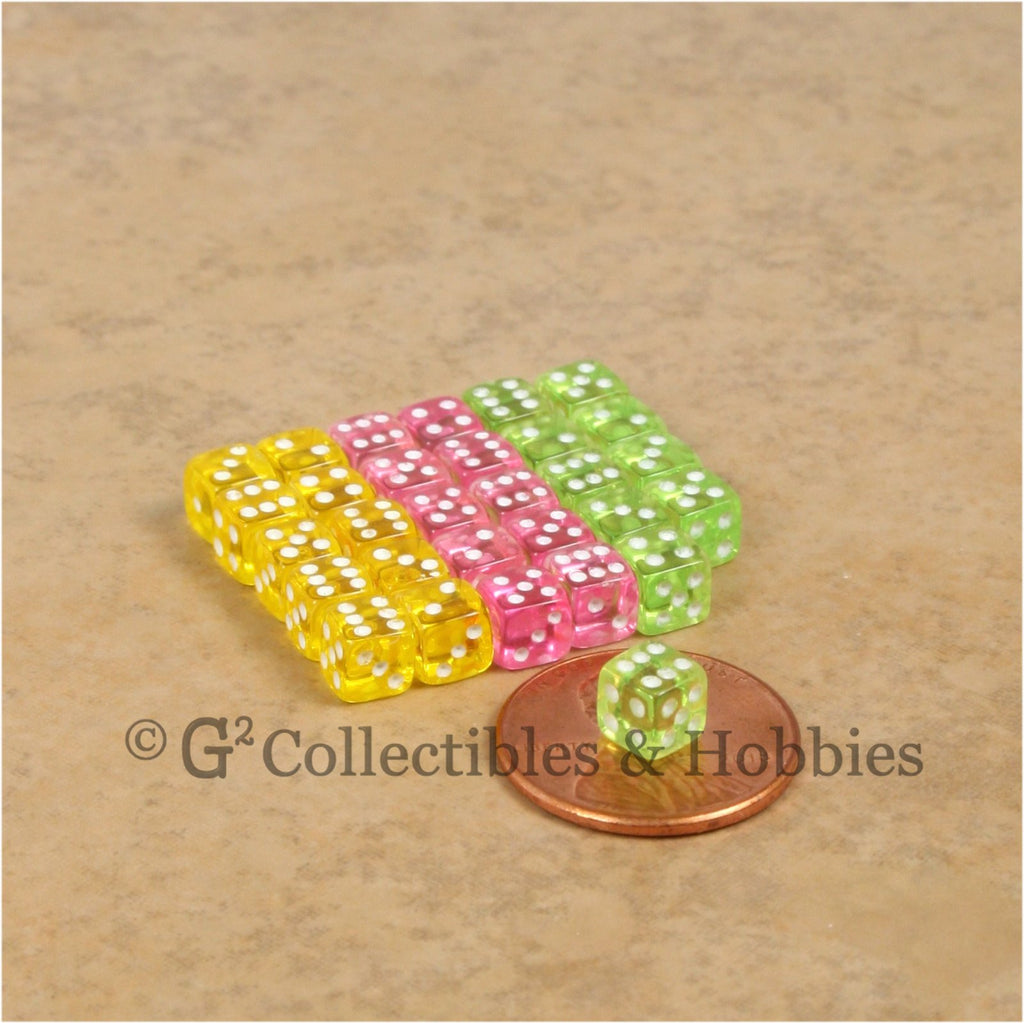 D6 5mm Deluxe Rounded Edge Transparent 30pc MINI Dice Set - Lime Green, Yellow & Pink
