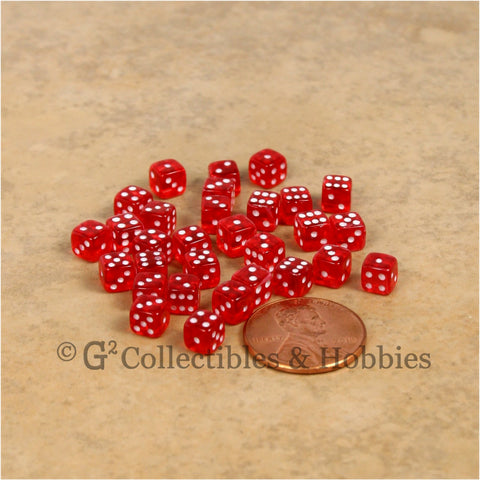 D6 5mm Deluxe Rounded Edge 30pc MINI Dice Set - Transparent Red