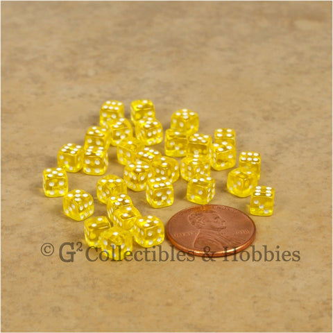 D6 5mm Deluxe Rounded Edge 30pc MINI Dice Set - Transparent Yellow