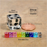 D6 5mm Deluxe Rounded Edge Transparent 90pc Dice Set - 9 Colors
