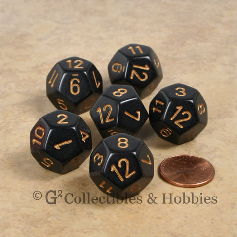 D12 RPG Dice Set : Opaque 6pc - Black with Gold Numbers