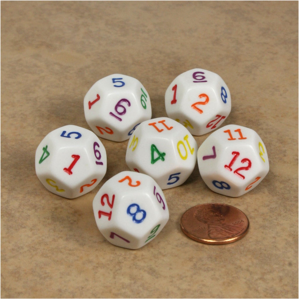 D12 RPG Dice Set : Opaque 6pc - White with Multi-Colored Numbers
