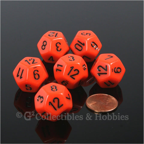 D12 RPG Dice Set : Opaque 6pc - Orange with Black Numbers