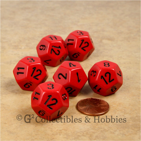 D12 RPG Dice Set : Opaque 6pc - Red with Black Numbers