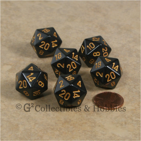 D20 RPG Dice Set : Opaque 6pc - Black with Gold Numbers