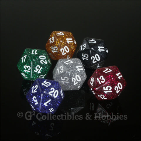 D20 RPG Dice Set : Glitter 6pc