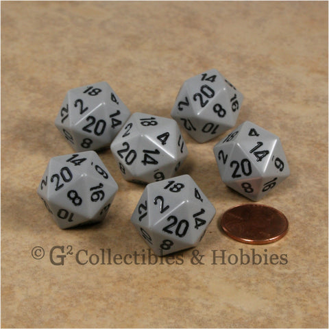 D20 RPG Dice Set : Opaque 6pc - Gray with Black Numbers