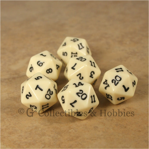 D20 RPG Dice Set : Opaque 6pc - Ivory with Black Numbers