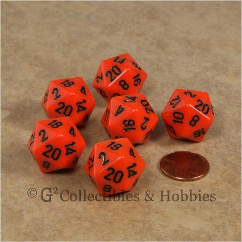 D20 RPG Dice Set : Opaque 6pc - Orange with Black Numbers