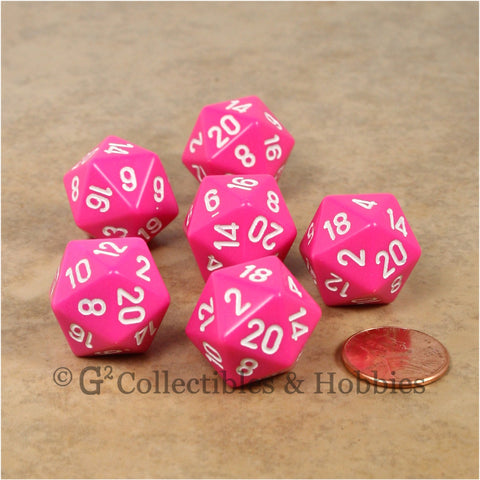 D20 RPG Dice Set : Opaque 6pc - Pink with White Numbers