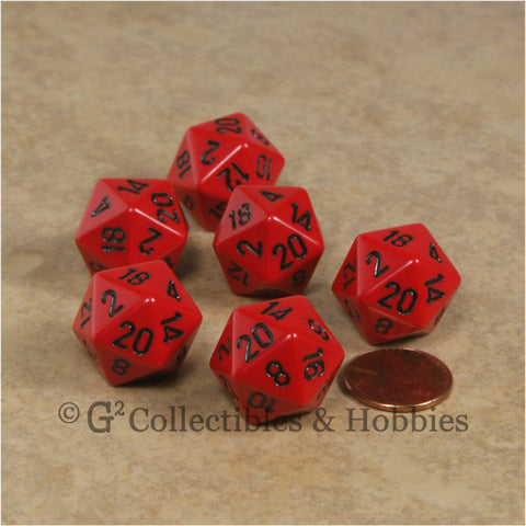 D20 RPG Dice Set : Opaque 6pc - Red with Black Numbers