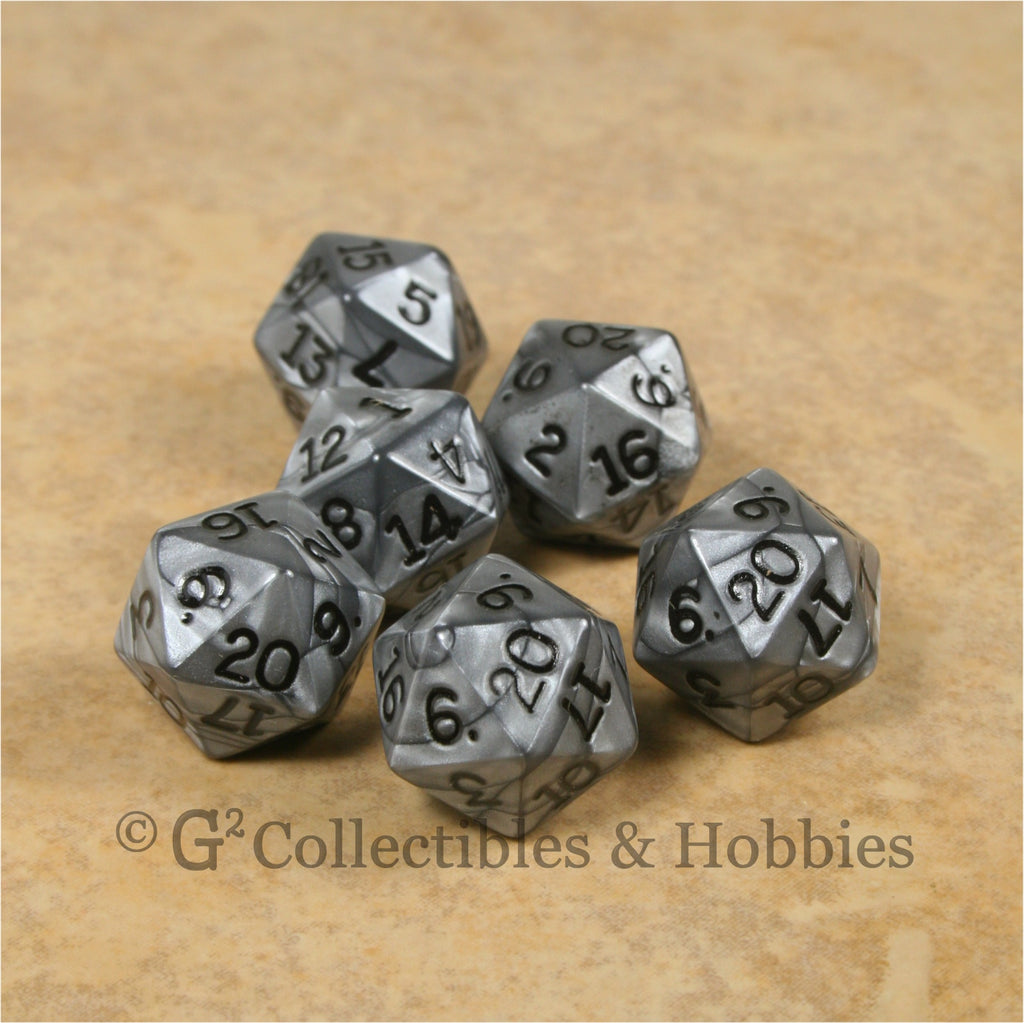 D20 RPG Dice Set : Olympic Silver 6pc