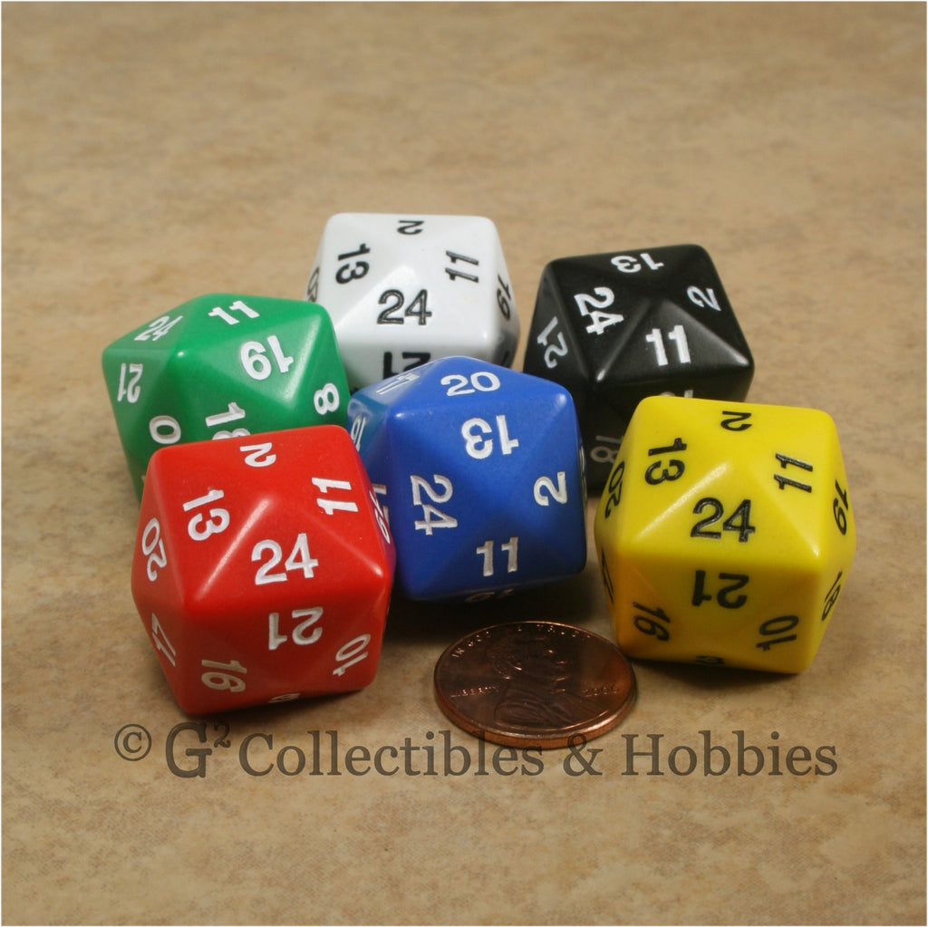 D24 Opaque 6pc Dice Set - 6 Colors