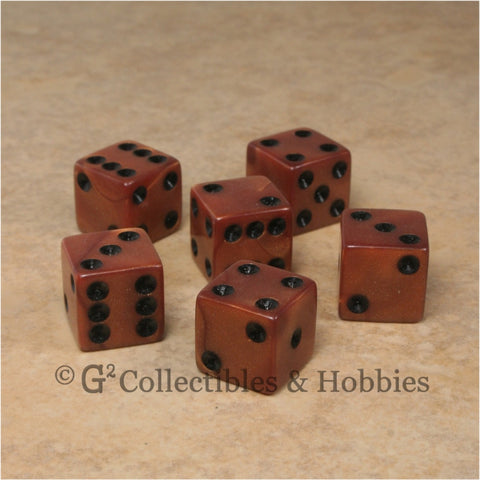 D6 16mm Pearlized Olympic Bronze 6pc Dice Set