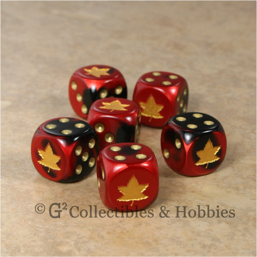 WWII Axis & Allies 6pc Dice Set - Canadian WWII Maple Leaf