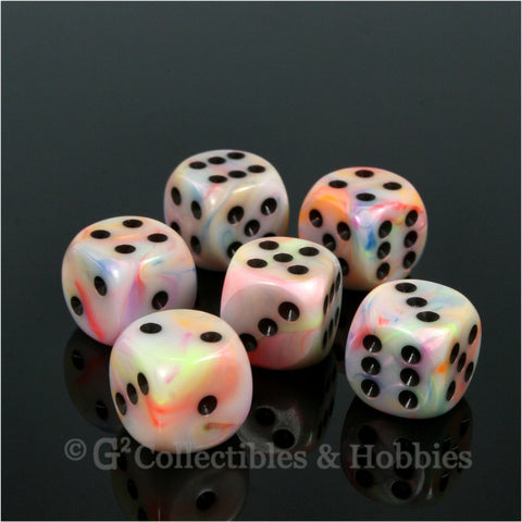 D6 16mm Festive Circus with Black Pips 6pc Dice Set