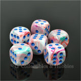 D6 16mm Festive Pop Art with Blue Pips 6pc Dice Set